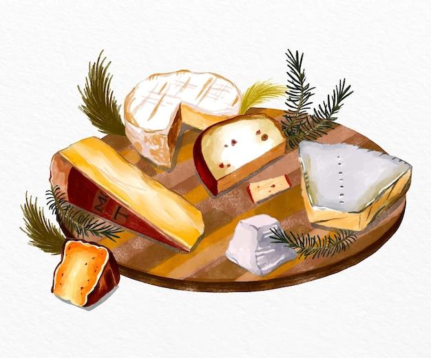 Plateau de fromages aquarelle vue haute