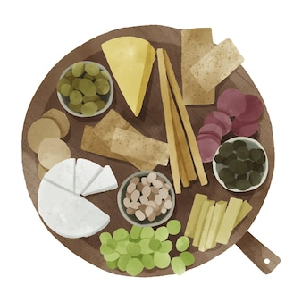 Plateau de fromages aquarelle