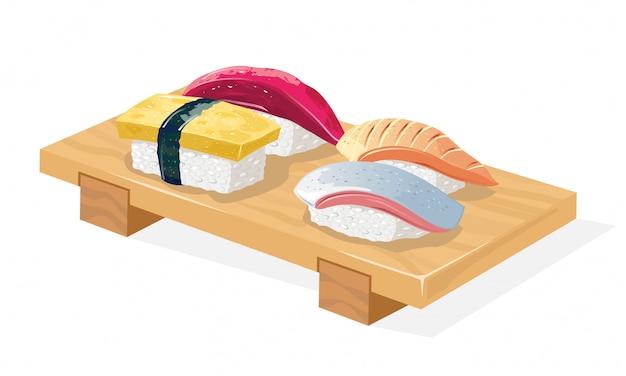 Plateau de geta en bois servi avec des sushis maguro, saba, tamago et hirame.