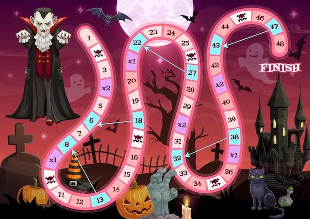 Plateau de jeu, jeu de société halloween avec chemin de début et de fin, modèle de dessin vectoriel. jeu de société d'halloween ou jeu de labyrinthe avec des citrouilles, le vampire dracula et la maison hantée sur fond de cimetière de cimetière