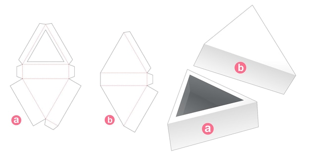 Plateau triangulaire avec couvercle gabarit découpé