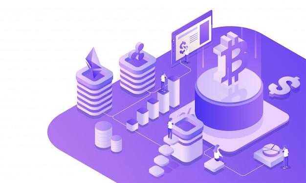 Plateforme d'échange de devises virtuelle isométrique.