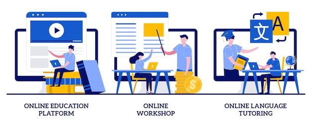 Plateforme d'éducation en ligne, atelier et concept de tutorat linguistique avec des personnes minuscules