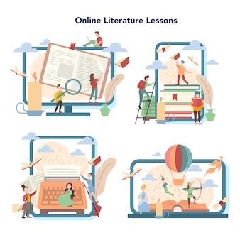 Plateforme d'éducation en ligne sur les matières de l'école de littérature. webinaire, cours et cours en ligne. idée d'éducation et de connaissance. étudiez l'écrivain ancien et le roman moderne.