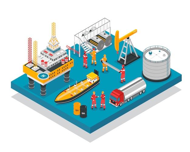 Plateforme gazière pétrolière isométrique