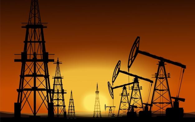 Plateformes pétrolières. production d'huile. illustration