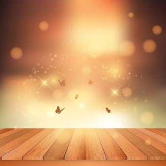 Platelage en bois donnant sur un ciel de coucher du soleil avec des papillons