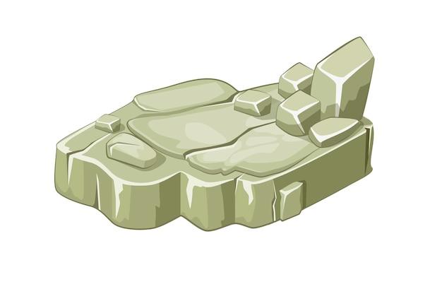 Plates-formes isométriques d'îles en pierre pour le jeu. rocher ou falaise sur fond blanc.