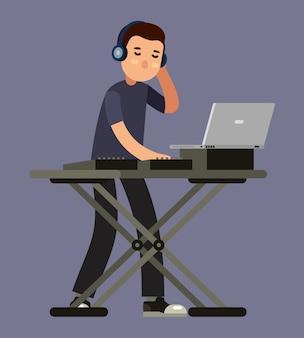 Platine de mixage musique dj en illustration vectorielle style plat