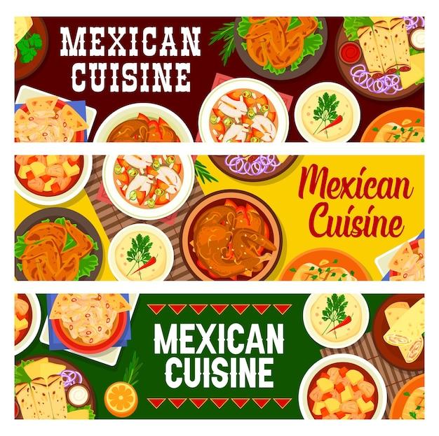 Plats de cuisine mexicaine, bannières de nourriture de restaurant
