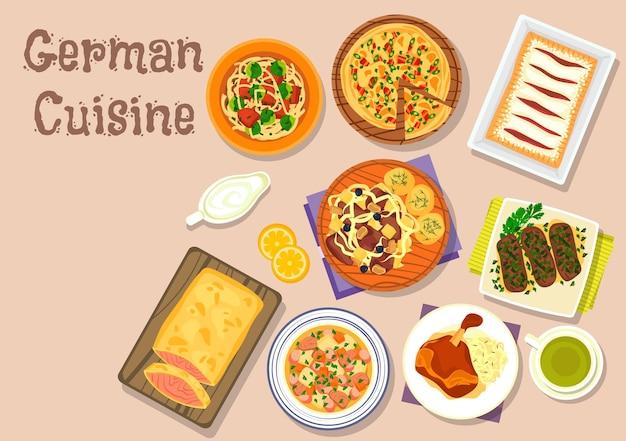 Plats de déjeuner de cuisine allemande avec jambon de jarret