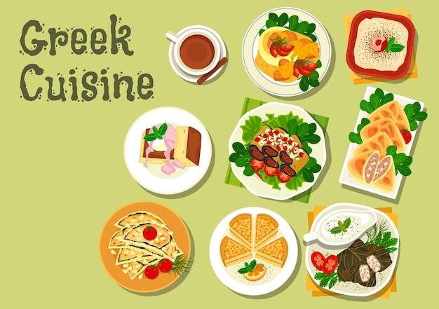 Plats de déjeuner de cuisine grecque avec ragoût de viande