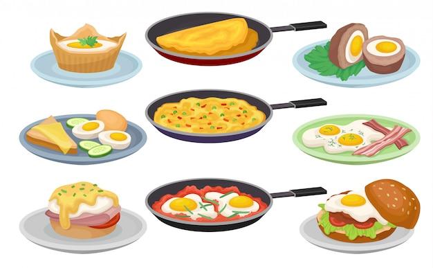 Plats à partir d'œufs, aliments frais et nutritifs pour le petit-déjeuner, élément de menu, café, restaurant illustrations sur fond blanc