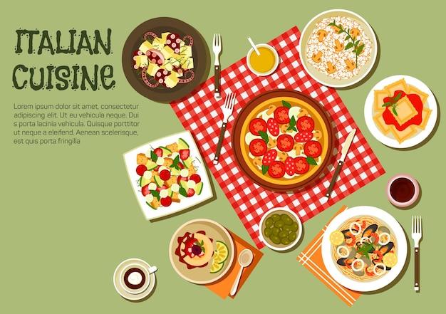 Plats de pique-nique italiens avec symboles plats de pizza, raviolis et risotto aux champignons, salade chaude de poulpe et pâtes aux fruits de mer
