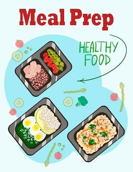 Plats préparés dans des conteneurs un régime quotidien d'illustration vectorielle d'aliments sains dans un style plat