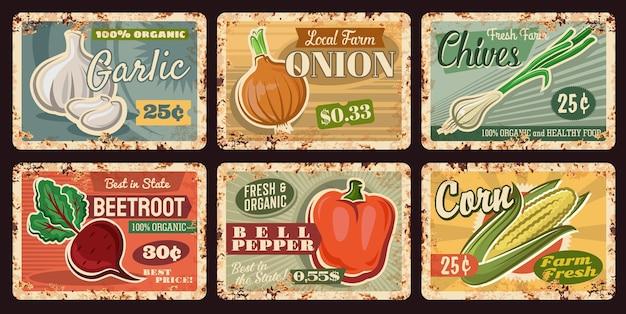 Plats rouillés de légumes de ferme, poivre, oignon, maïs