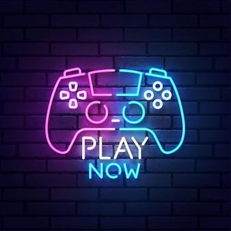 Play now enseigne au néon