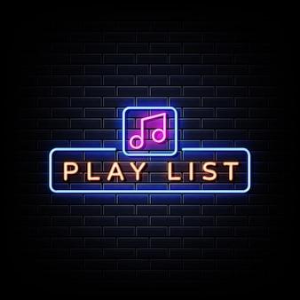 Playlist enseigne au néon sur mur de briques noires