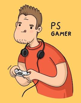 Playstation de joueur de personnage de dessin animé avec joystick