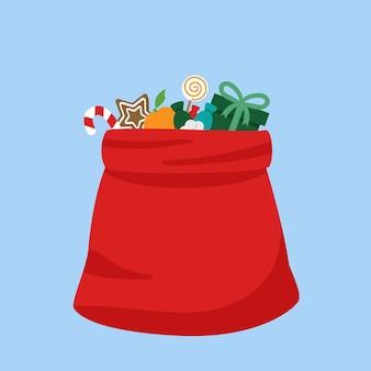 Plein cadeau ouvert sac rouge du père noël. illustration de dessin animé