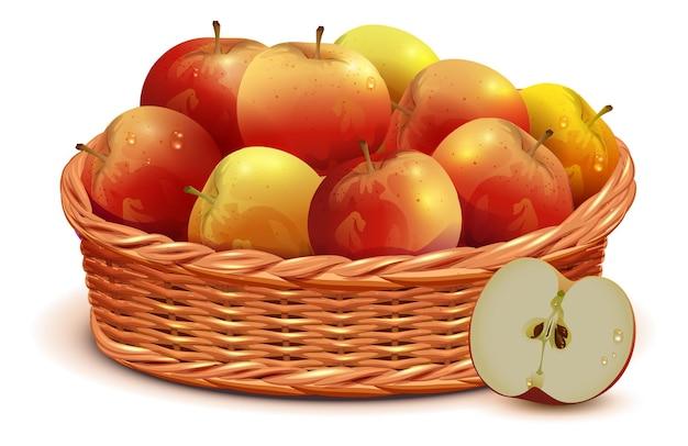 Plein panier en osier du jour de thanksgiving de festival de récolte de pommes rouges