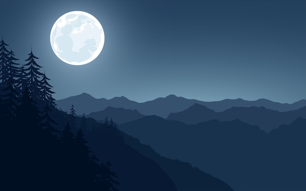 Pleine lune sur la chaîne de montagnes