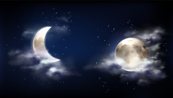 Pleine lune et croissant dans le ciel nocturne avec des nuages