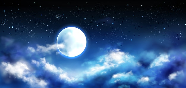 Pleine lune dans le ciel nocturne avec scène d'étoiles et de nuages