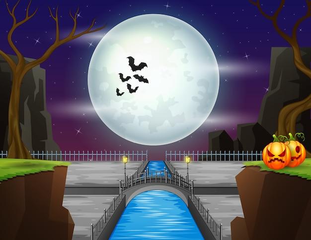 Une pleine lune la nuit d'halloween