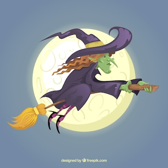 La pleine lune et la sorcière volent sur le balai