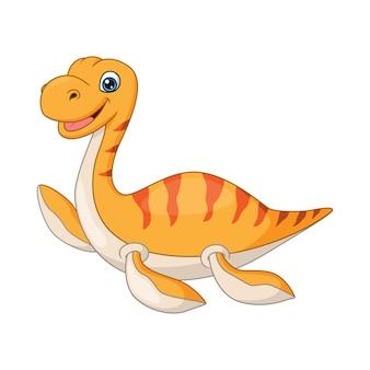 Plésiosaure drôle de dessin animé sur fond blanc