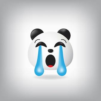 Pleurer fort, panda, emoji, illustration
