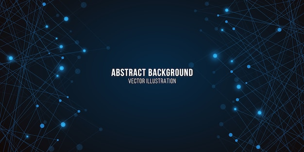 Plexus lumineux géométrique. abstrait futuriste. structure moléculaire rougeoyante bleue
