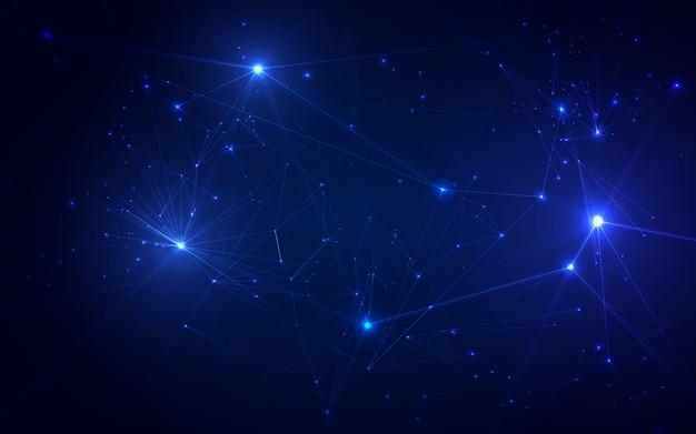 Plexus de polygones connectés, visualisation de données numériques.