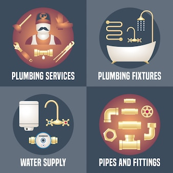 Plomberie domestique - collection de quatre bannières, affiches avec symboles de plomberie. illustrations publicitaires de services de bricoleur