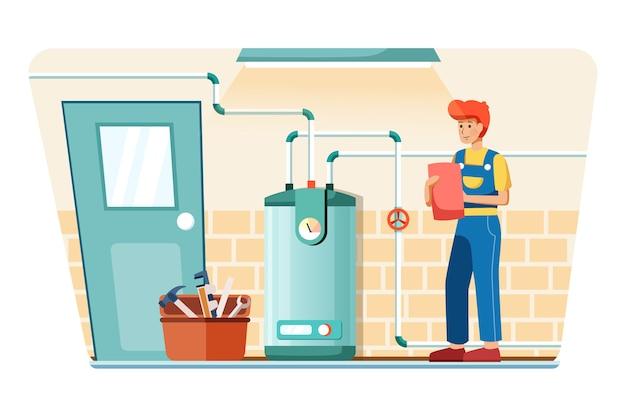 Le plombier ajuste la température de la chaudière