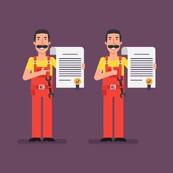 Le plombier est titulaire d'un contrat et souriant. illustration vectorielle.