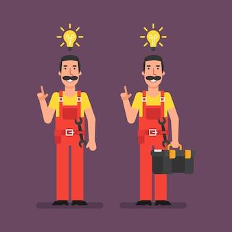 Le plombier a eu une idée tenant une valise et souriant. illustration vectorielle.