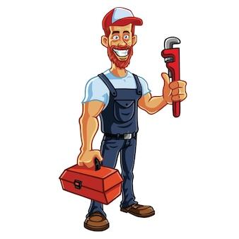 Plombier, hipster, réparateur, dessin animé, caractère, conception, vecteur