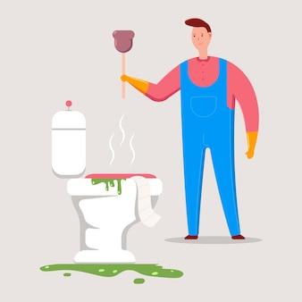 Plombier avec illustration de dessin animé de vecteur de piston.