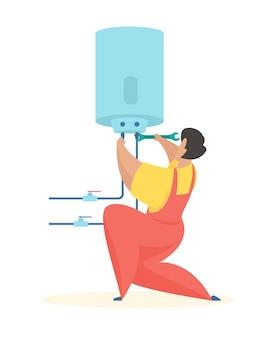 Le plombier relie la chaudière nettoyage et réparation de chauffe-eau