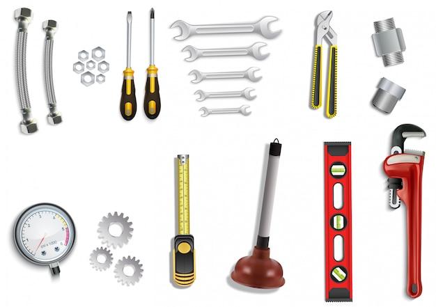 Plombier service icônes définies sur fond blanc