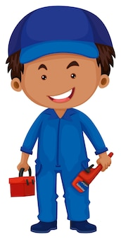 Plombier tenant la boîte à outils et la clé