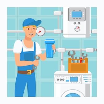 Plombier, tenue, filtre, eau, illustration vectorielle