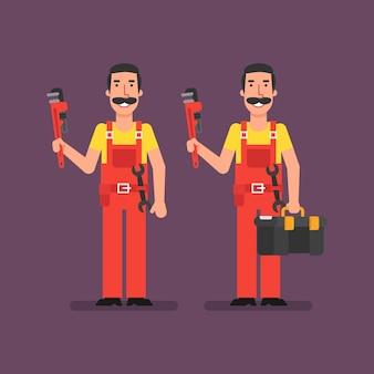 Le plombier tient la clé à pipe tient la valise et sourit. illustration vectorielle.