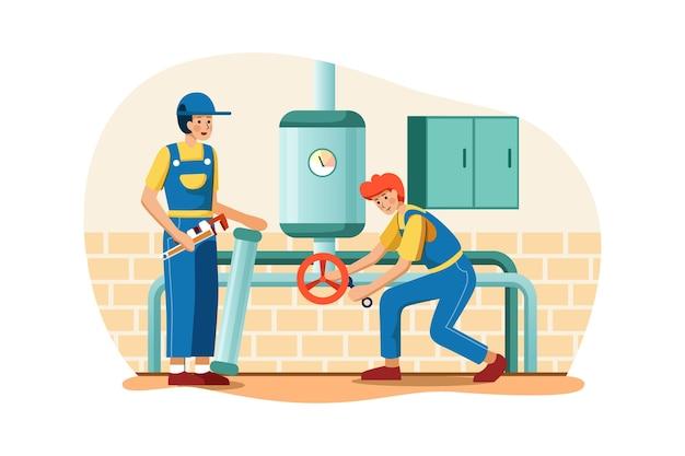 Les plombiers remplacent les vieux tuyaux en acier par de nouveaux