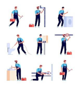 Plombiers. réparation de plomberie, réparation d'équipement de chauffage domestique et tuyaux. installation et fourniture du service d'eau. ensemble de bricoleurs isolés. service de réparation de plomberie, illustration de réparation de bricoleur