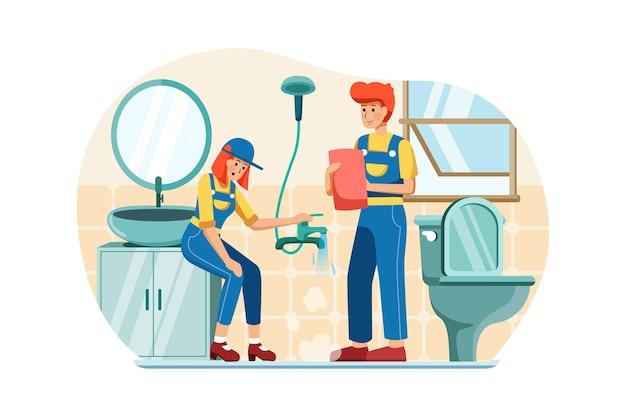 Les plombiers vérifient et absorbent l'eau du conduit.