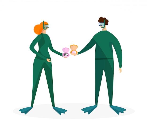 Plongée en apnée homme et femme tenant des coquillages avec perle