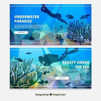 Plongée géométrique plongeur bannières
